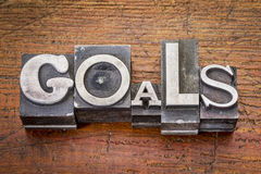 Goals word in metal type Stock Image
