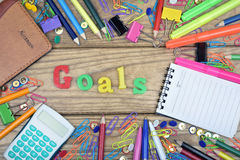 Goals word and office tools Royalty Free Stock Photo