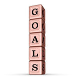 Goals Word Sign. Vertical Stack of Rose Gold Metallic Toy Blocks Stock Photos