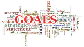 Goals wordcloud. Illustration of wordcloud related to word goals Stock Image