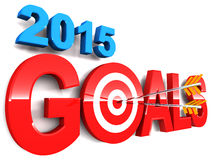 2015 goals. Words with arrows hitting the bulls eye, concept of new year 2015 targets and resolution Stock Images