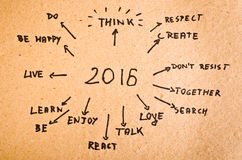 2016 Goals written on orange cardboard.  Royalty Free Stock Images