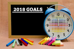 2018 Goals. Written on a small blackboard Stock Image