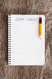 Goals of year 2014. Notebook with pencil and goals of year 2014 Stock Image