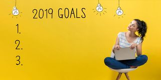 2019 goals with woman using a laptop. 2019 goals with young woman using a laptop computer stock images