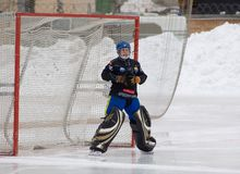 Goaltender of Dynamo Akhmerov Anton Royalty Free Stock Photos