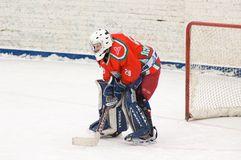 Goaltender of hockey team Scherbinka Stock Photos