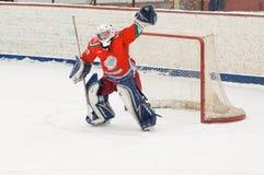 Goaltender of hockey team Scherbinka Stock Photography
