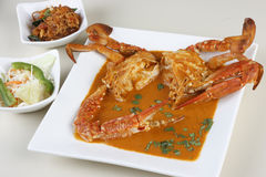 Goan Crab fry from India. Top view. Goan Crab fry is a dish made by frying whole crabs in spices. This is popular in Goa, India Stock Photography