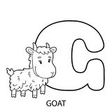 Goat alphabet coloring page. Animal alphabet coloring page. Vector illustration of educational alphabet coloring page with cartoon character for kids vector illustration