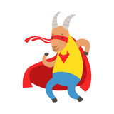 Goat Animal Dressed As Superhero With A Cape Comic Masked Vigilante Character. Part Of Fauna With Super Powers Flat Cartoon Vector Collection Of Illustrations Royalty Free Stock Photos