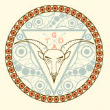 Goat Animal symbol of New Year 2015 round frame emblem with modern pattern greeting card Christmas celebration trendy colors vecto Royalty Free Stock Photo