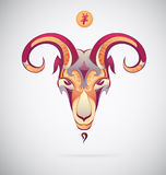 Goat as Chinese symbol for year 2015. Goat as a symbol for year 2015 with hieroglyph Stock Image