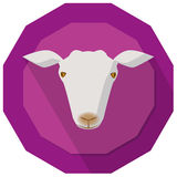 Goat badge. Simple illustration of goat head on purple background Stock Images