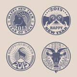 Goat badges. Set of 2015 Chinese New Years symbol goat  logos design. Logotype templates and badges with goats, mountains, sun and stars. Product promotion and Stock Image