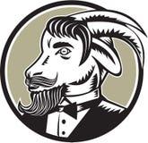 Goat Beard Tuxedo Circle Woodcut Stock Images