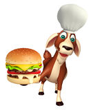 Goat cartoon character with chef hat and burger. 3d rendered illustration of Goat cartoon character with chef hat and burger Royalty Free Stock Photo