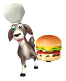 Goat cartoon character with chef hat and burger. 3d rendered illustration of Goat cartoon character with chef hat and burger Stock Photo