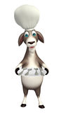 Goat cartoon character with chef hat and dinner plate Royalty Free Stock Images