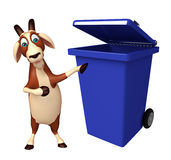 Goat cartoon character with dustbin Stock Photo