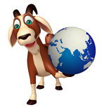 Goat cartoon character with earth Royalty Free Stock Photography