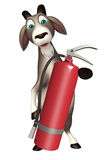 Goat cartoon character  with fire extinguisher Stock Images