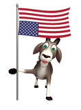 Goat cartoon character with flag. 3d rendered illustration of Goat cartoon character with flag Stock Photo