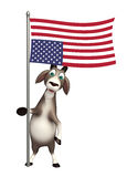 Goat cartoon character with flag. 3d rendered illustration of Goat cartoon character with flag Royalty Free Stock Photo