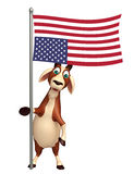 Goat cartoon character with flag. 3d rendered illustration of Goat cartoon character with flag Royalty Free Stock Image