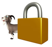 Goat cartoon character with lock Royalty Free Stock Images
