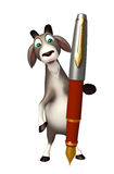 Goat cartoon character with pen. 3d rendered illustration of Goat cartoon character with pen Royalty Free Stock Photo