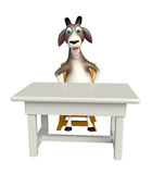 Goat cartoon character with table and chair Royalty Free Stock Photography