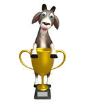 Goat cartoon character with winning cup Royalty Free Stock Photo