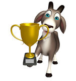 Goat cartoon character with winning cup Stock Photos