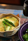 Goat Cheese and Asparagus Crustless Quiche Royalty Free Stock Photo