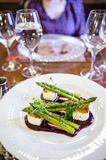 Goat cheese and asparagus dish Royalty Free Stock Photography
