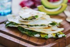 Goat cheese and Avocado Quesadilla Stock Images
