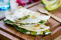 Goat cheese and Avocado Quesadilla Royalty Free Stock Images