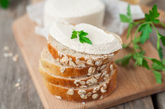 Goat Cheese with Bread Royalty Free Stock Images