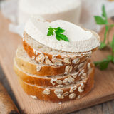 Goat Cheese with Bread Stock Photos