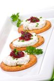 Goat cheese canapes Royalty Free Stock Photo