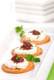 Goat cheese canapes Stock Photo