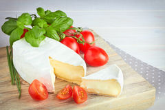 Goat cheese, cherry tomato, and basil Royalty Free Stock Photos