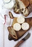 Goat cheese and  country  bread Stock Photography