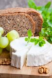 Goat cheese with fruits and whole grain bread royalty free stock photo