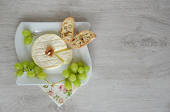 Goat cheese and grapes on the plate. Copy space wooden background cheese on the plate Stock Images