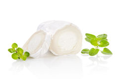 Goat cheese with herbs. Slices goat cheese and goat cheese piece with fresh marjoram herbs on white background. Culinary cheese eating Stock Photo