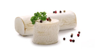 Goat cheese. Isolated on white background Royalty Free Stock Photography