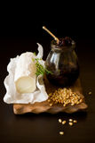 Goat cheese,onion jam,pine nut and  thyme Stock Photos