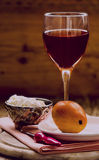 Goat cheese, pear and Rose wine Stock Photo